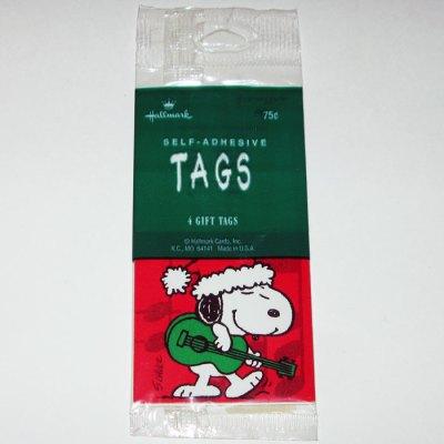 Santa Snoopy playing Guitar Christmas Gift Tags