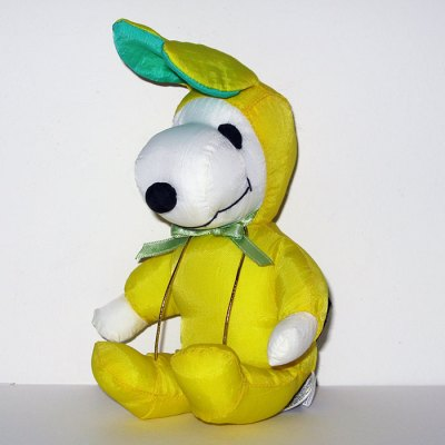 Snoopy yellow & green Easter Beagle Satin Plush