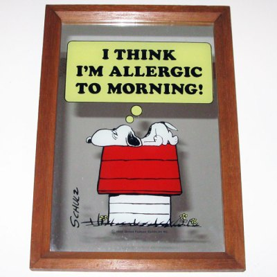 Snoopy 'Allergic to Mornings' Large Mirror