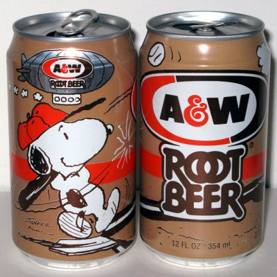 Snoopy playing Baseball A&W Root Beer Can