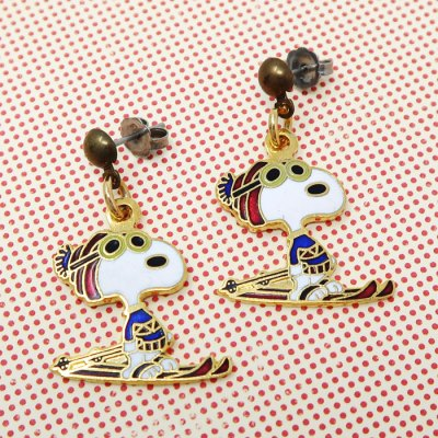 Snoopy Skiing Earrings