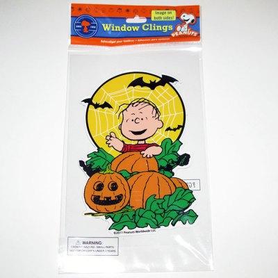 Linus in Pumpkin Patch Halloween Window Gel Cling