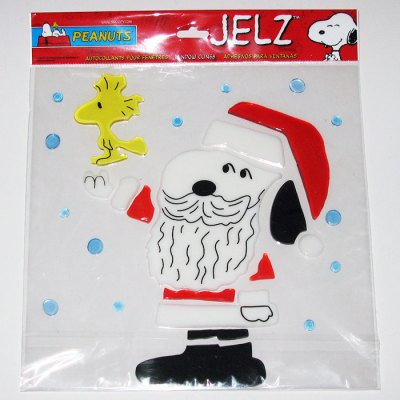 Santa Snoopy & Woodstock Christmas Jelz Window Cling