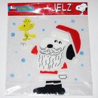 Santa Snoopy & Woodstock Christmas Jelz Window Cling