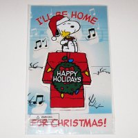 Snoopy & Woodstock on Doghouse Christmas Gel Cling
