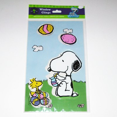 Snoopy & Woodstock with Easter Eggs Window Gel Cling