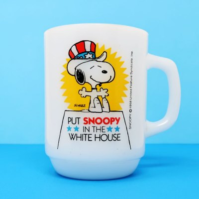 Put Snoopy in the White House Milk Glass Mug