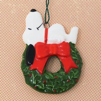 Snoopy on Wreath Christmas Ornament