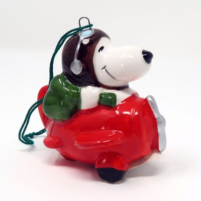Snoopy in Plane Ceramic Christmas Ornament