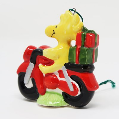 Woodstock on Motorcycle Ceramic Christmas Ornament
