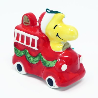 Woodstock on Fire Truck Ceramic Christmas Ornament