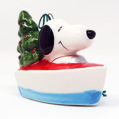 Snoopy in Boat Ceramic Christmas Ornament
