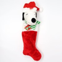 Santa Snoopy plush head Stocking