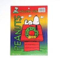 Snoopy on doghouse with Christmas wreath Cardboard Tray Puzzle