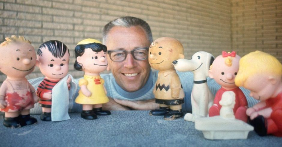 Charles Schulz with Hungerford Dolls