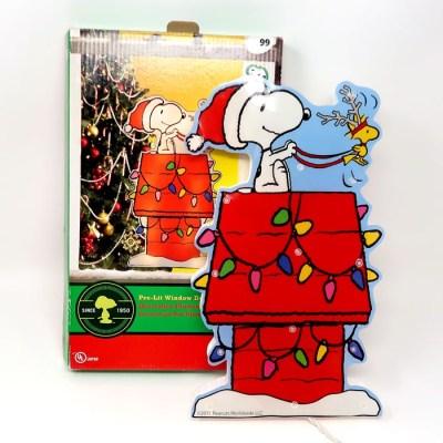 Santa Snoopy Doghouse Pre-Lit Window Decor