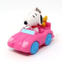 Snoopy and Woodstock in Pink Car Valentine's Day PVC Keychain