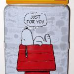 Snoopy on doghouse 'Just for You' Gift Card Tin