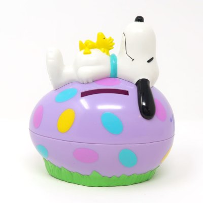 Snoopy & Woodstock laying on purple egg Bank Candy Container