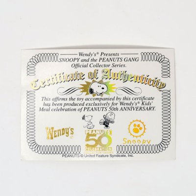 Peanuts Certificate of Authenticity from Wendy's
