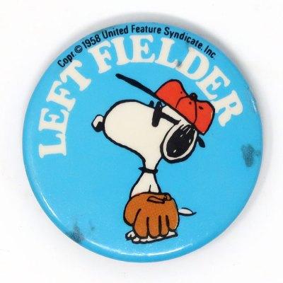 Baseball Snoopy Button