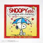 Snoopy Etc Catalog Snoopy under umbrella with falling hearts