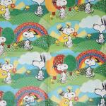 Snoopy and Woodstock dancing under rainbows Gift Wrap