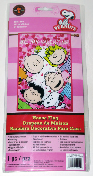 Peanuts Gang With Hearts Be My Valentine Large Flag
