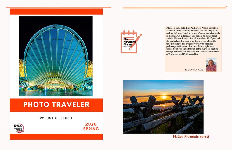 PSA The Photo Traveler Magazine front cover, and article by Colleen B. Reilly. 2020 Spring