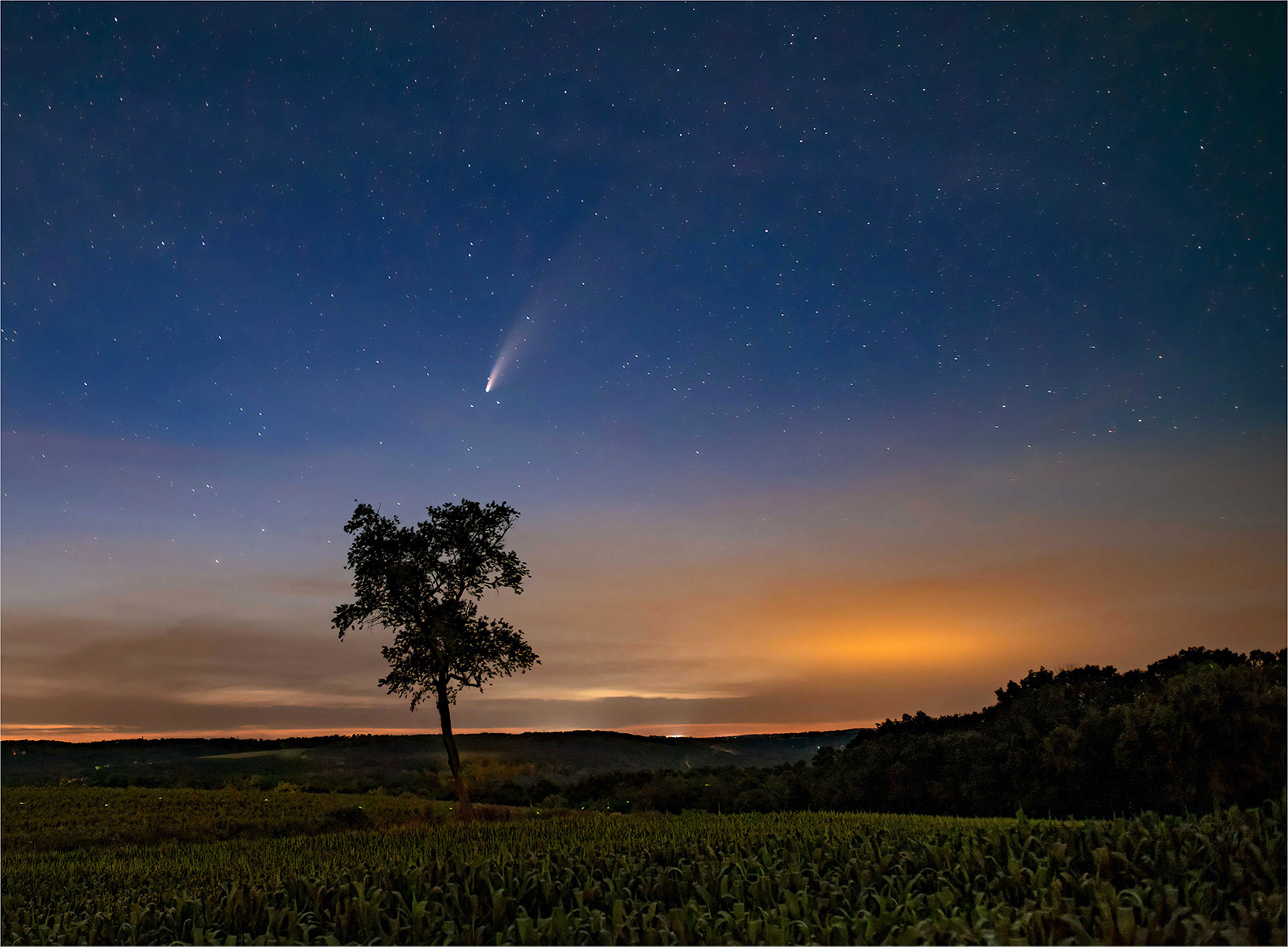 Comet NEOWISE passing over the Litchfield Hills, Connecticut