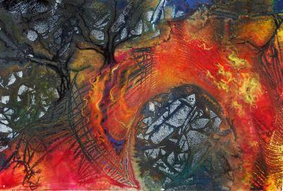 "Bridge of Hope; 2001; 21 1/2"" x 14 1/2""; mixed media: ink, watercolor, pastel."