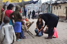 My much-loved friend Jenny, greeting residents of Mathare.