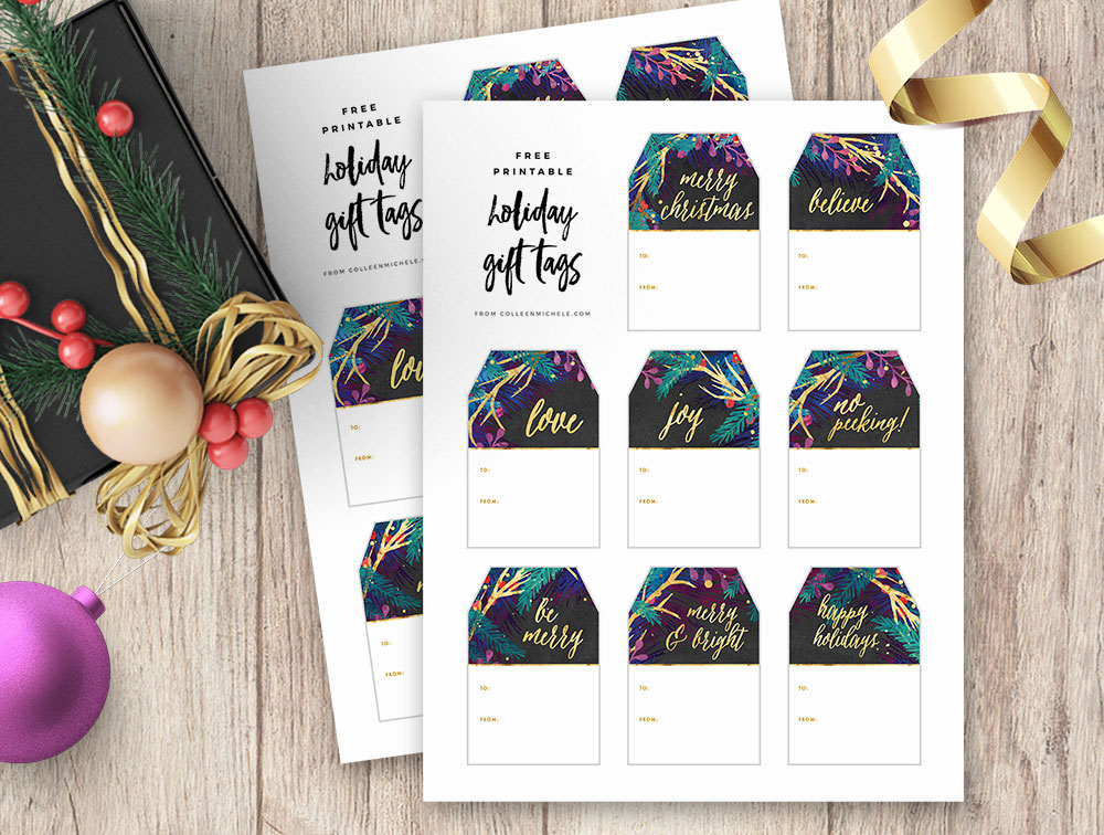 Free Christmas Gift Tags Printable - Gold with Purple, Blue and Green Botanicals with Red Berries and Modern Calligraphy Script