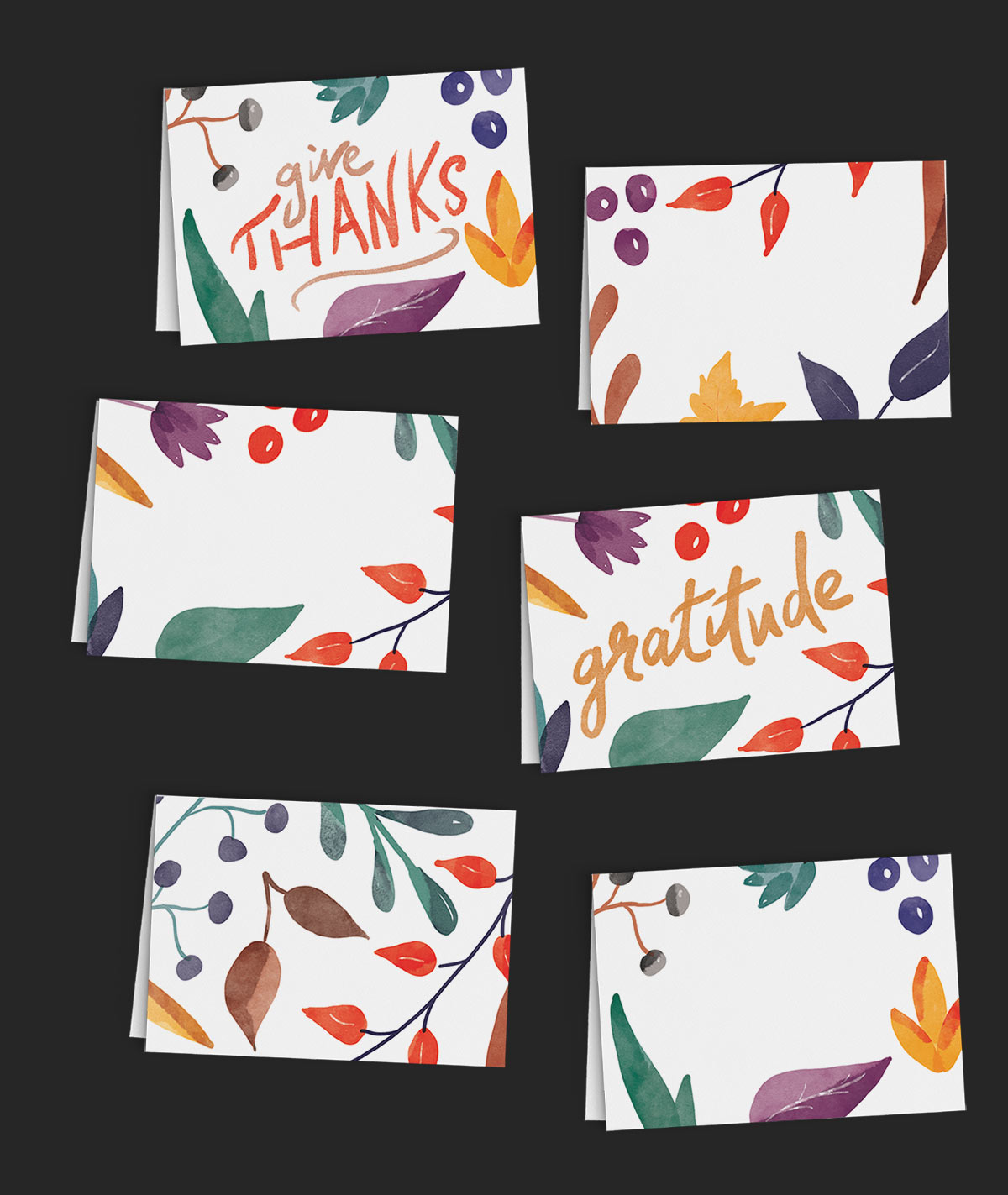 Thanksgiving Printable - Tiny Folded Cards with colorful Autumn foliage. By Colleen Michele