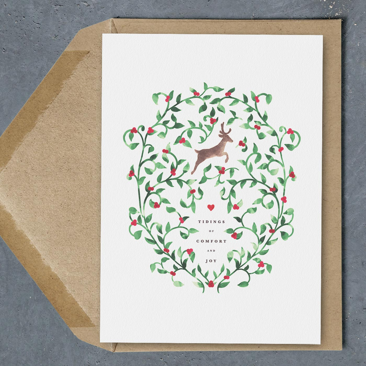 Free Printable Christmas Card - Tidings of Comfort and Joy with Leaping Deer and Watercolor Greenery with Red Berries