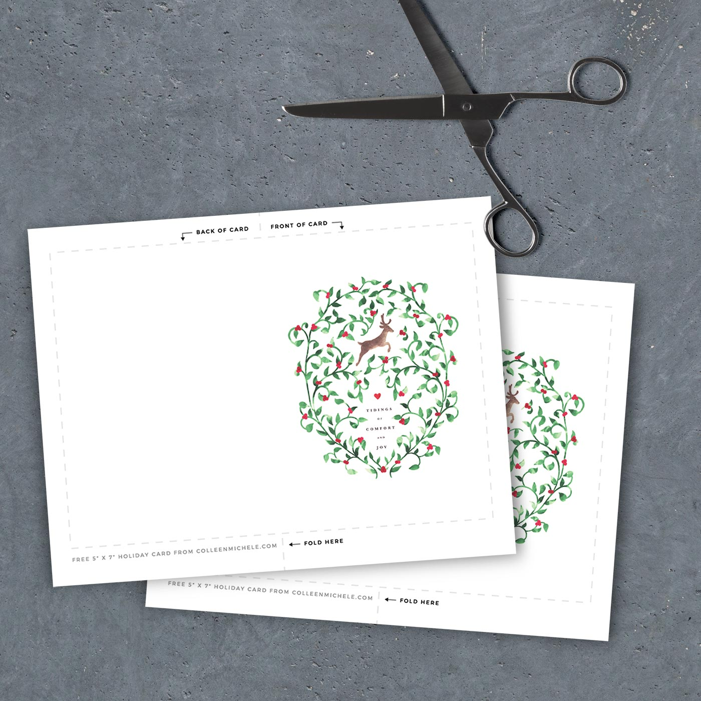 "Free printable Christmas card - 5"" x 7"" template PDF file"
