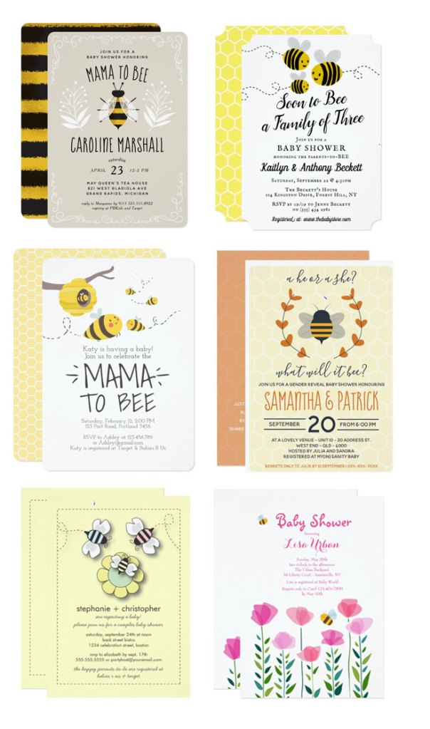 bee themed invitation for baby showers