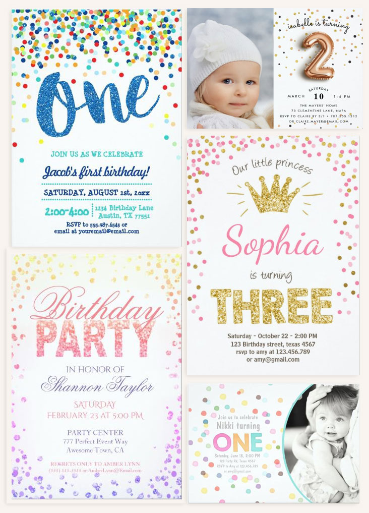 confetti themed birthday invitations