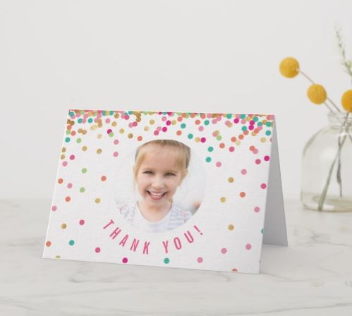 confetti thank you card with photo