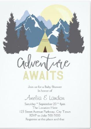 Adventure awaits baby shower mountain invitation