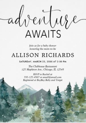 Adventure awaits water color baby shower invitations