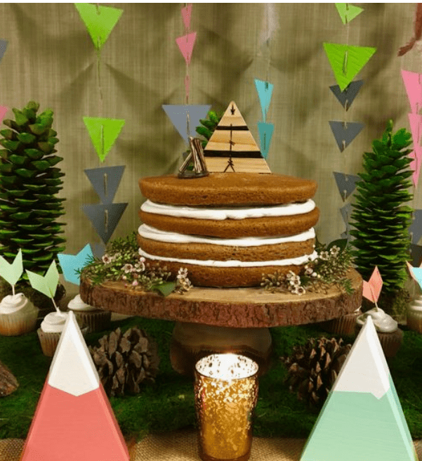 Naked cake for adventure themed baby shower