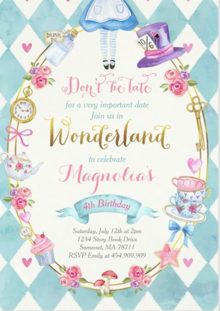 Sweet Alice in Wonderland birthday iinvitation