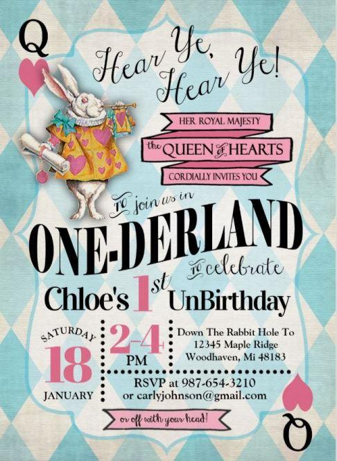 Alice in One-derland Un Birthday invitation