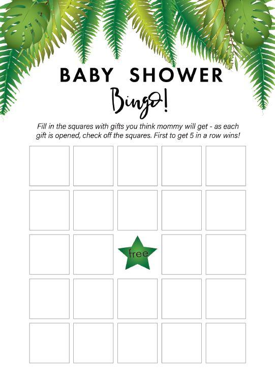 Free Safari Baby Shower Bingo Game