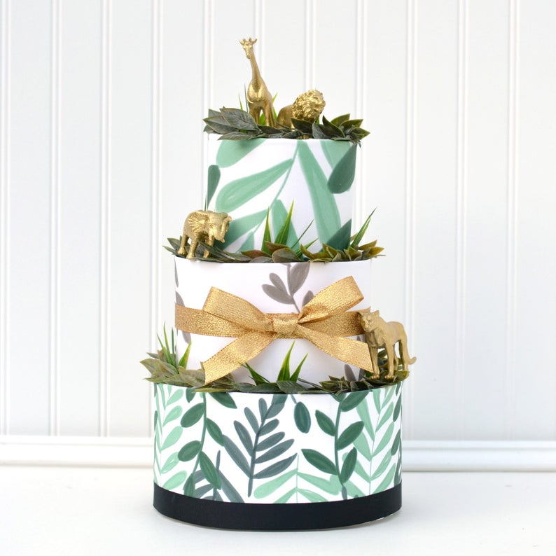golden safari diaper cake for baby shower