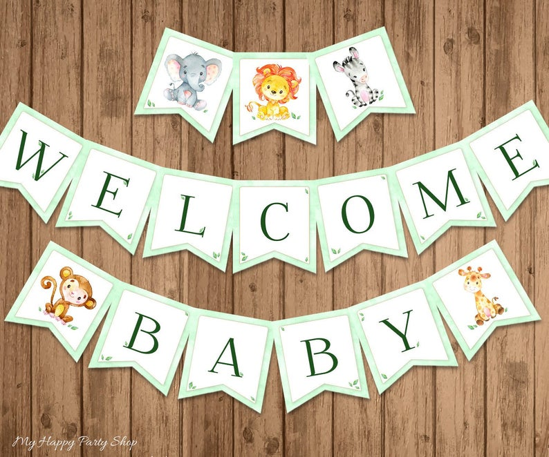 welcome baby - safari theme baby shower sign