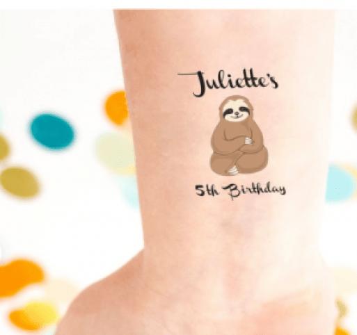 sloth temporary tattoos