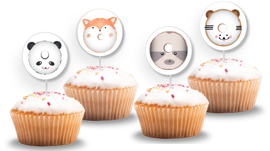 free animal donut cupcake toppers