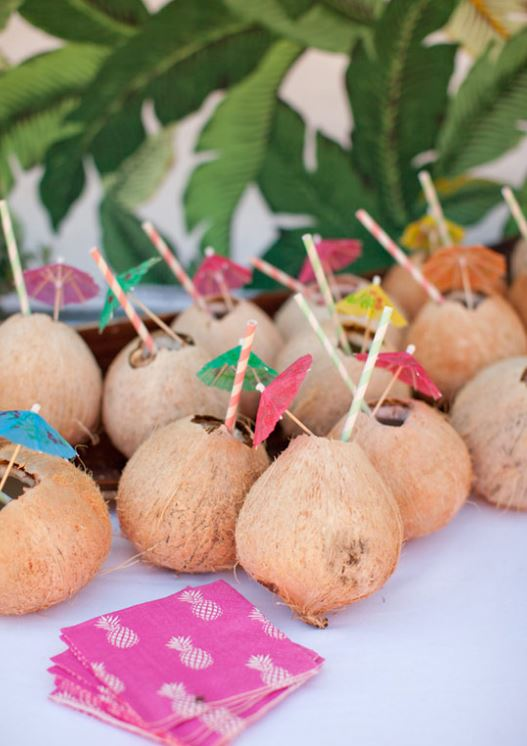 coconut drink holders with umbrellas